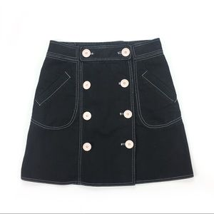 Marc Jacobs Black Denim Skirt  w/ Pink Buttons
